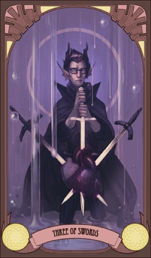 homestuck tarot: three of swords by kakimari
