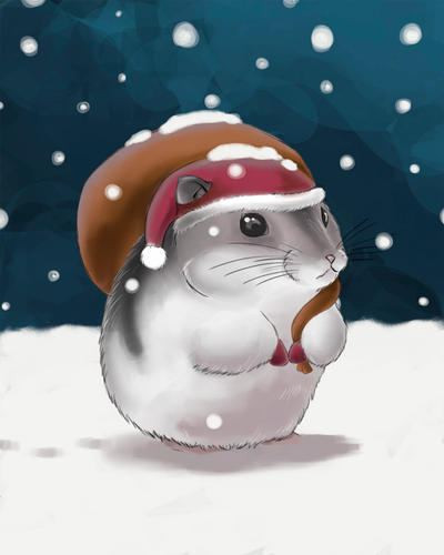 Realistic Hamster Santa by artshell