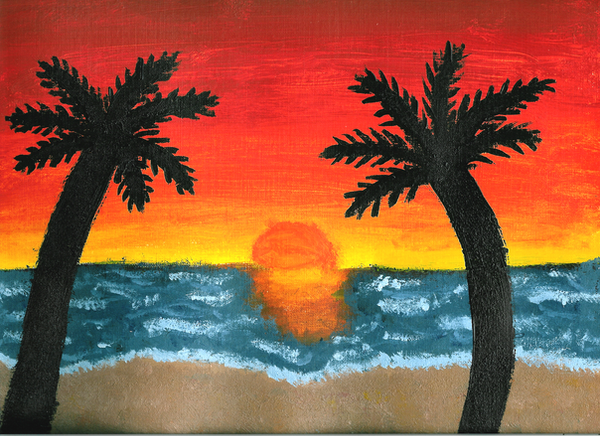 Sunset Beach Painting By Leah Sama