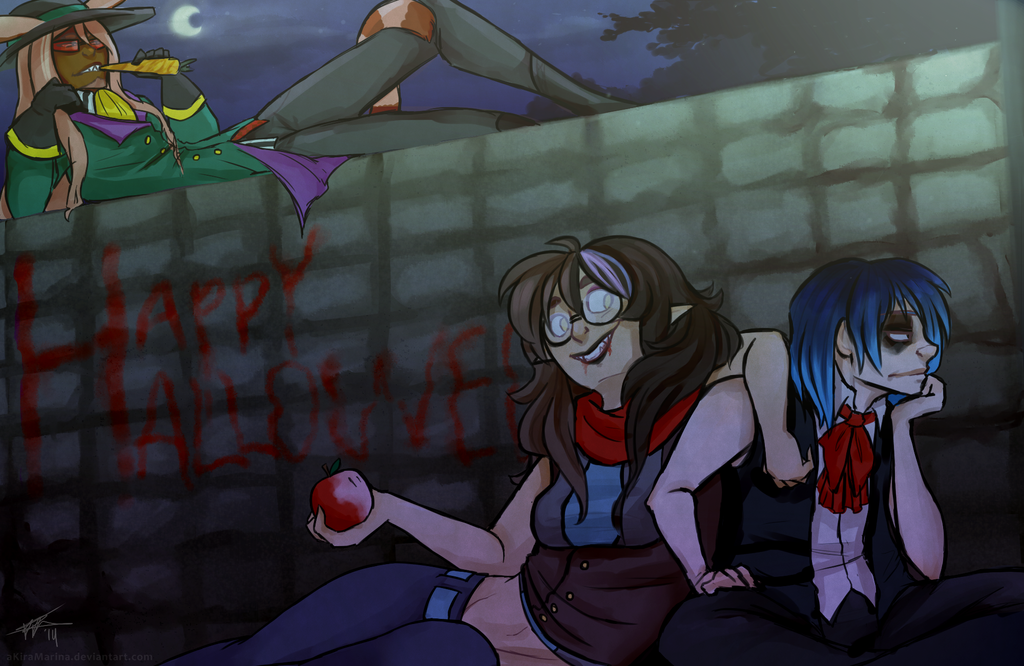 Hanging out on the dark nights of Halloween by aKiraMarina