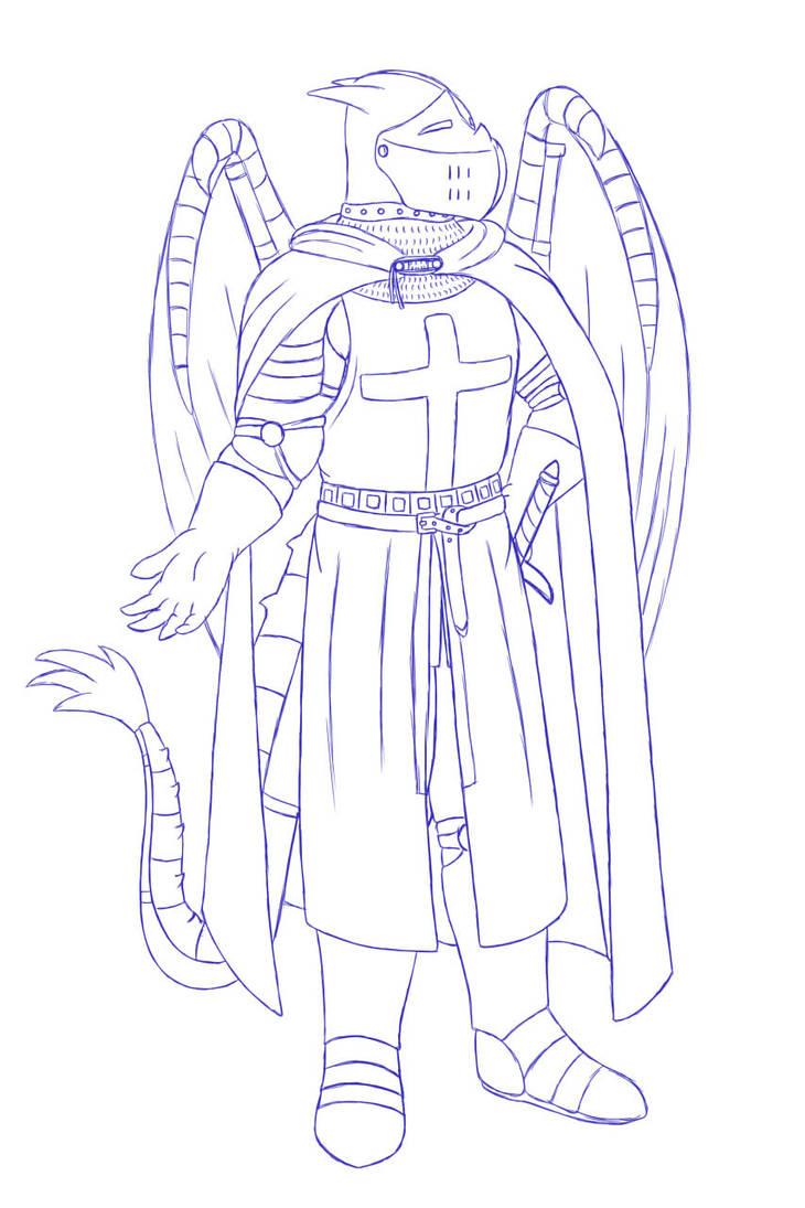 Dragon Templar Sketch by RazenHashikado