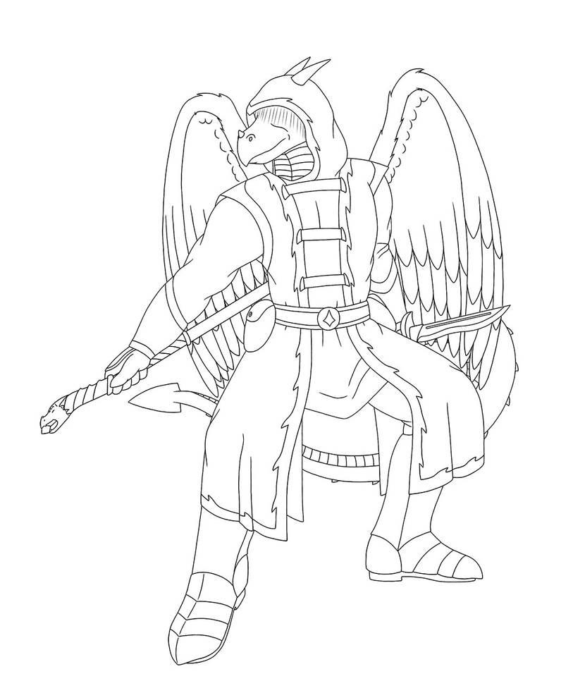 Dragon Sorcerer Line Art by RazenHashikado