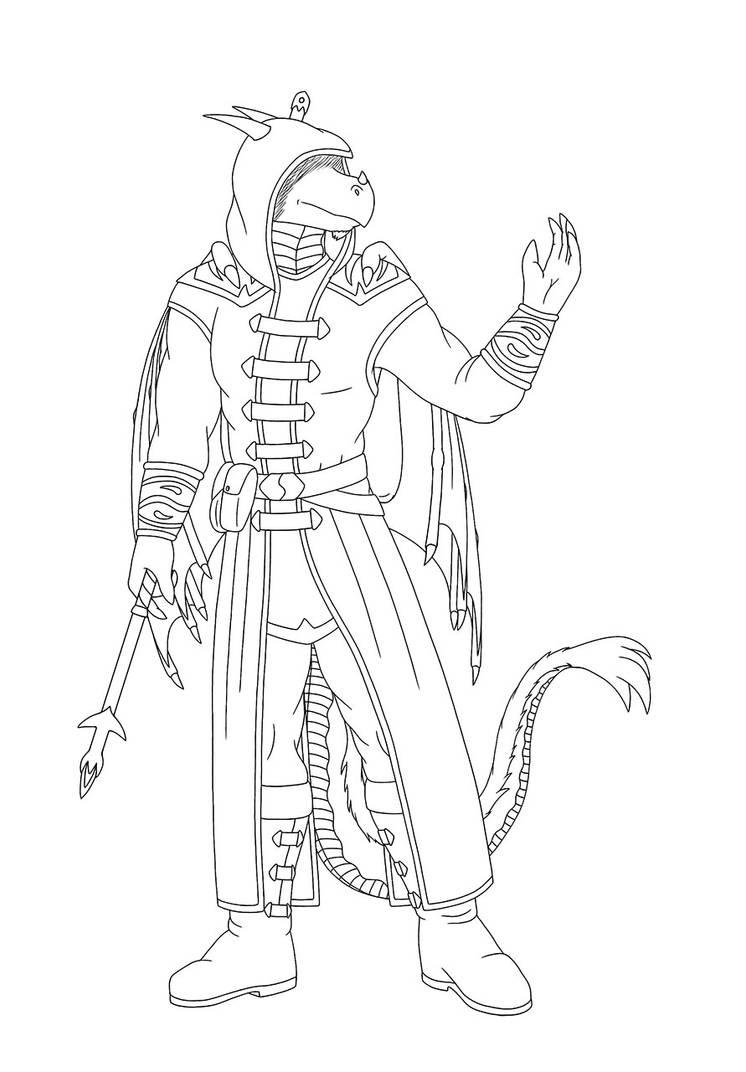 Another Dragon Sorcerer Lineart by RazenHashikado