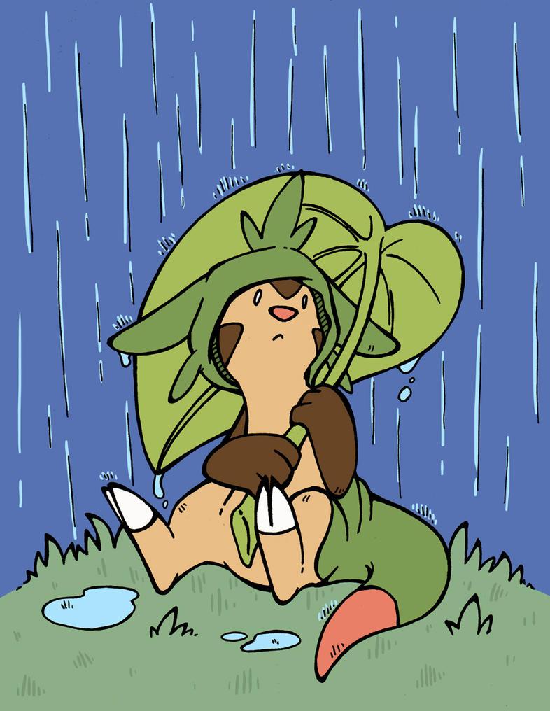 Chespin in the Rain by Renegar-Kitsune