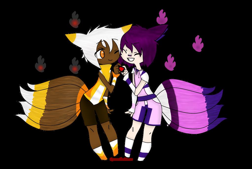 Aurelio and Hasumaru shaded by RoseandherThorns