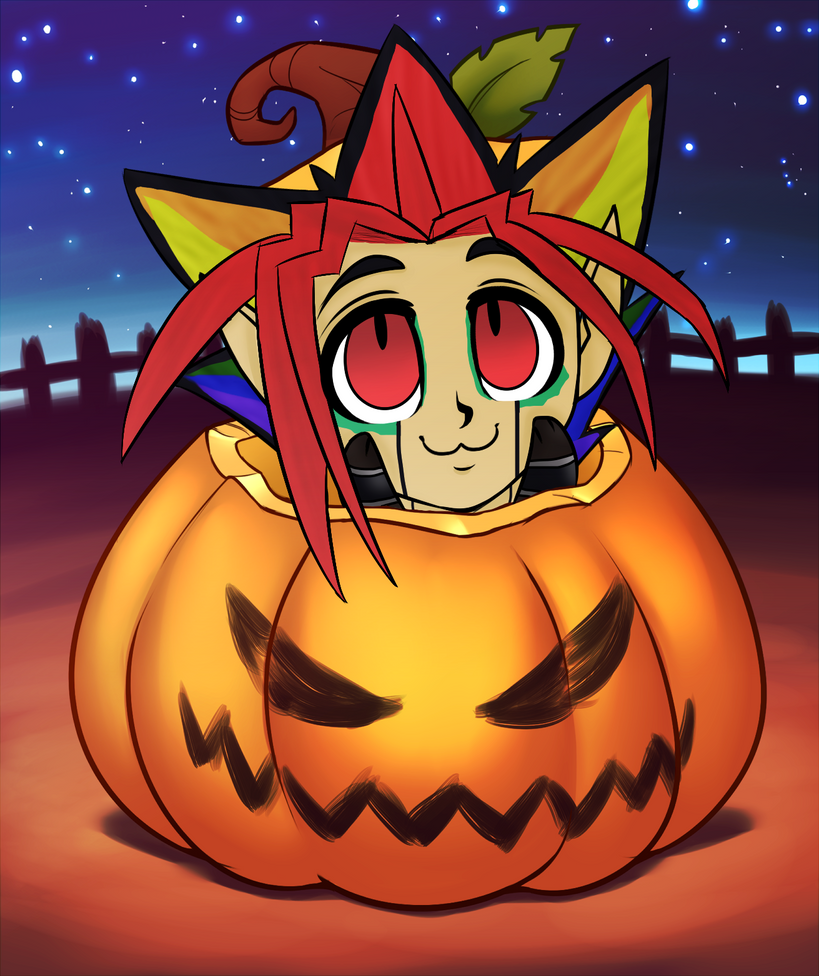 Atem pumpkin YCH by RoseandherThorns