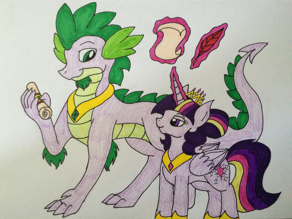 Twilight and spike  by crystal2riolu