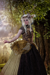 Magic Forest Lady 7 By Jumeria + BG Fantasy Forest by FreytagPhotoArt