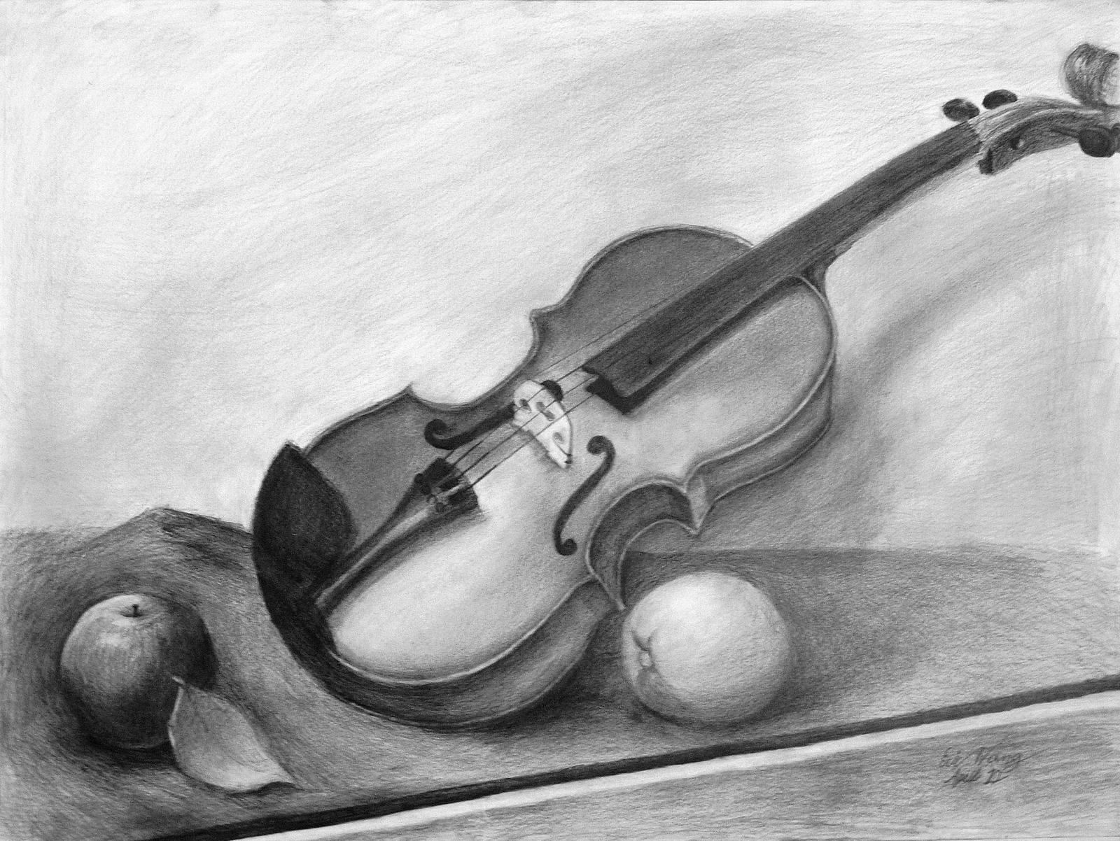 Violin Still Life Drawing by Rrgrg on DeviantArt