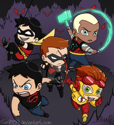 Young Justice chibies by DeanGrayson