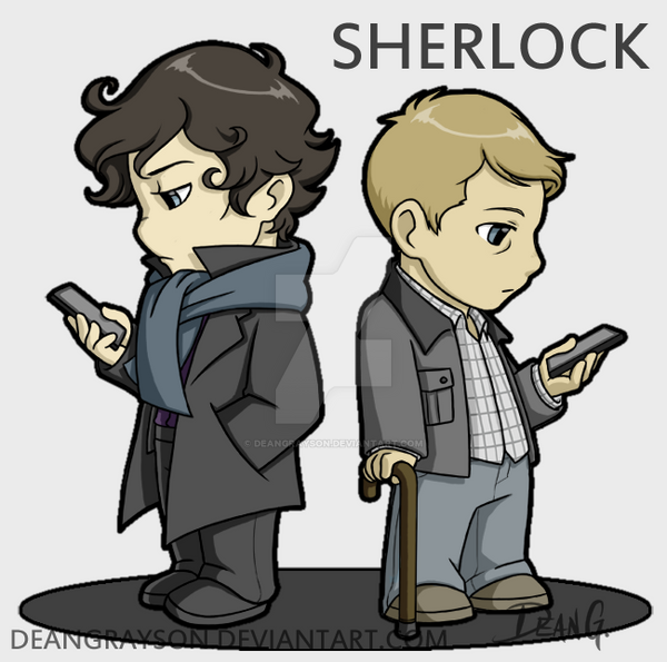 Sherlock chibies by DeanGrayson