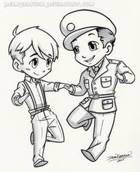 Commission - PreWar! Steve and Bucky chibies by DeanGrayson