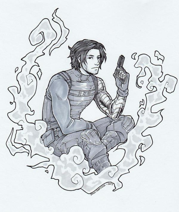 Bucky in smoke by DeanGrayson