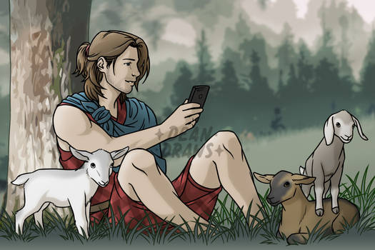 Bucky with goats post