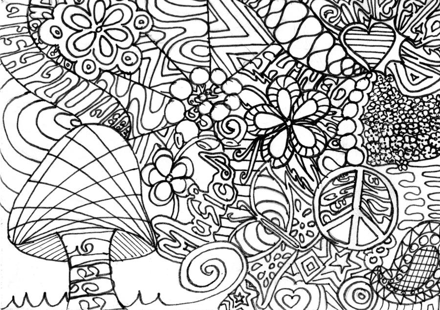 Trippy Mushroom Coloring Pages Mushroom by wish-you-werehere