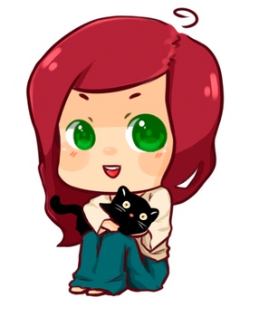 chibi with cat by mei-fei