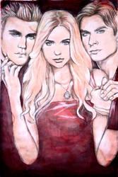 Stefan, Elena, Damon II - TVD by OGiiLMountainArt
