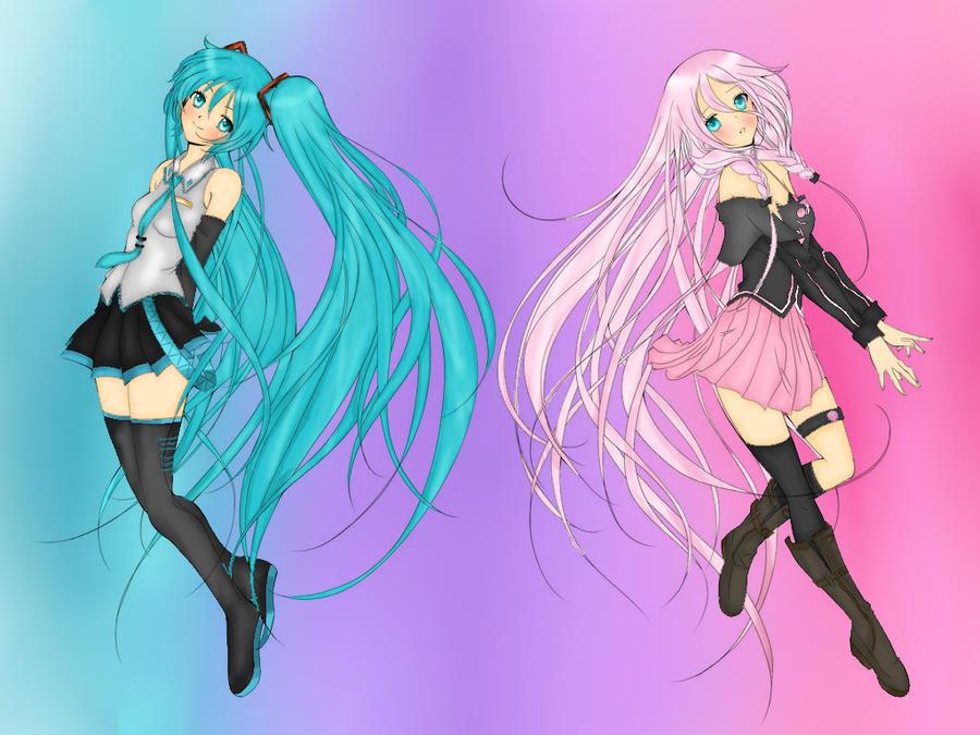 Line Art Anime : Line art miku and ia colored by konchin on deviantart