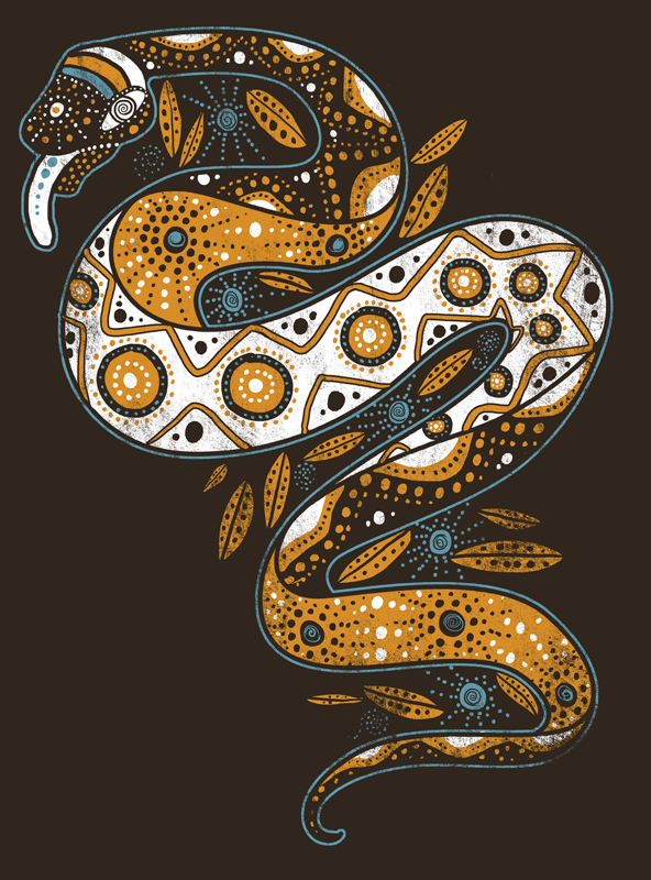 Rainbow Serpent on Brown by qetza