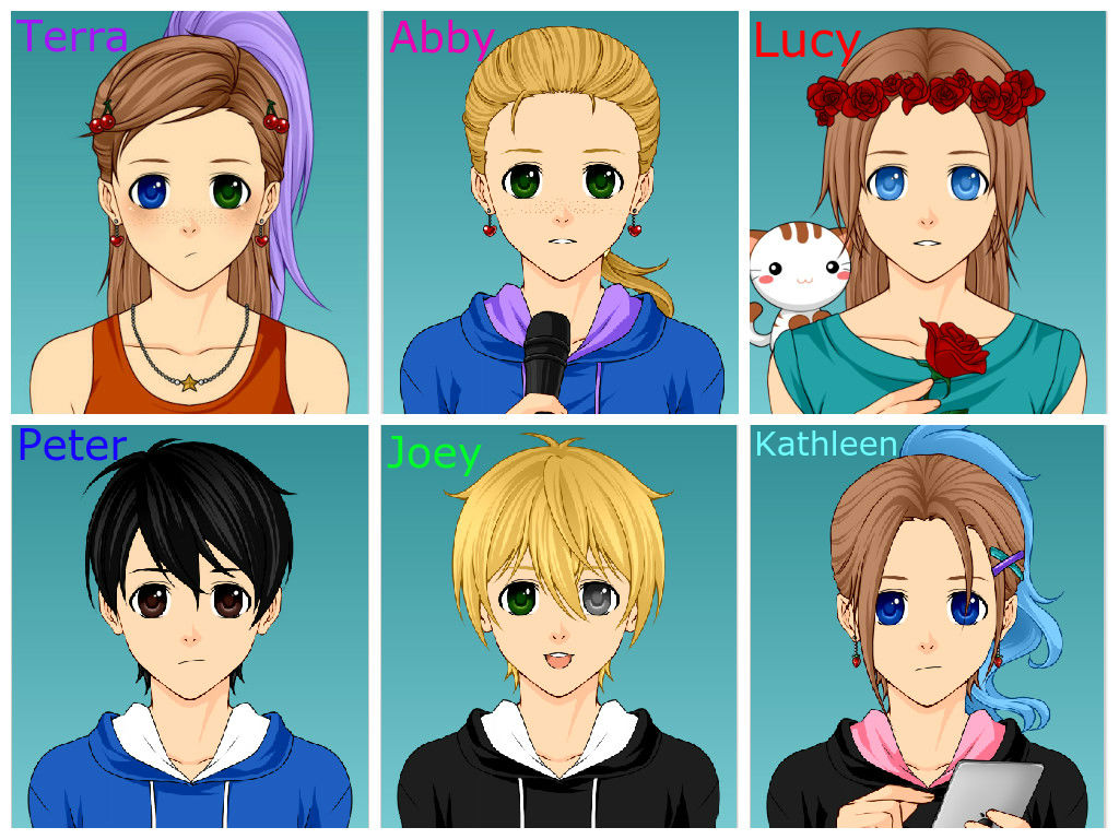 The 6 main characters in FNaF roleplay with my cou by Roseberry11 on