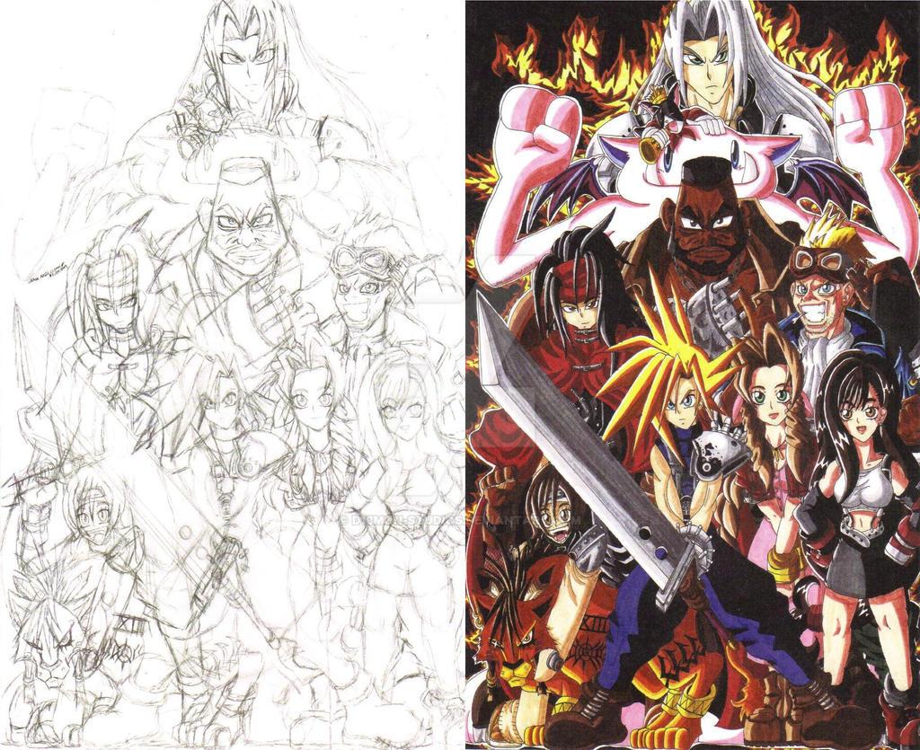 Final Fantasy VII fan art sketch and color 01 by d13mon-studios