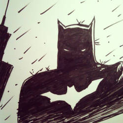 Batman in the Rain by cyxodus