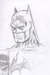 Batman Scowl Pencils by cyxodus