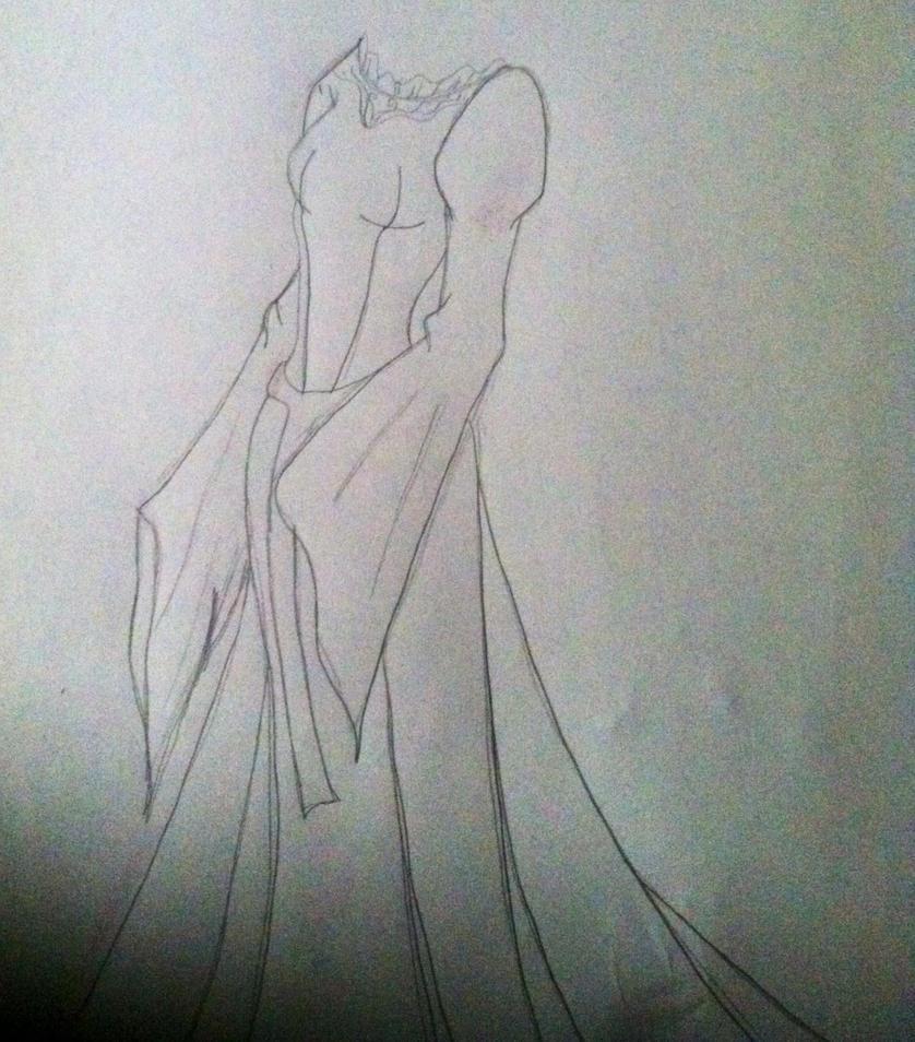 Cecelia's vampire dress (sketch) by floraiji30