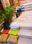 Narrow cafe in Rovinj