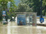 Flooded tram stop