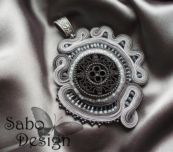 SHADES OF GRAY - soutache pendant 02 by SamanthaBossy