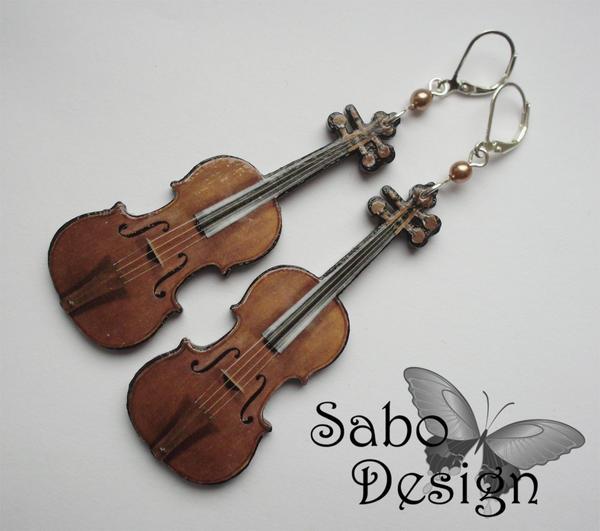 Violin Earrings by SamanthaBossy