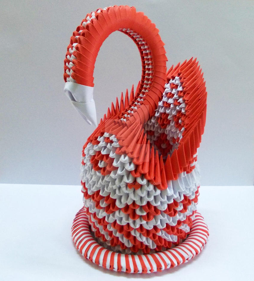 3D Origami Red Swan by designermetin