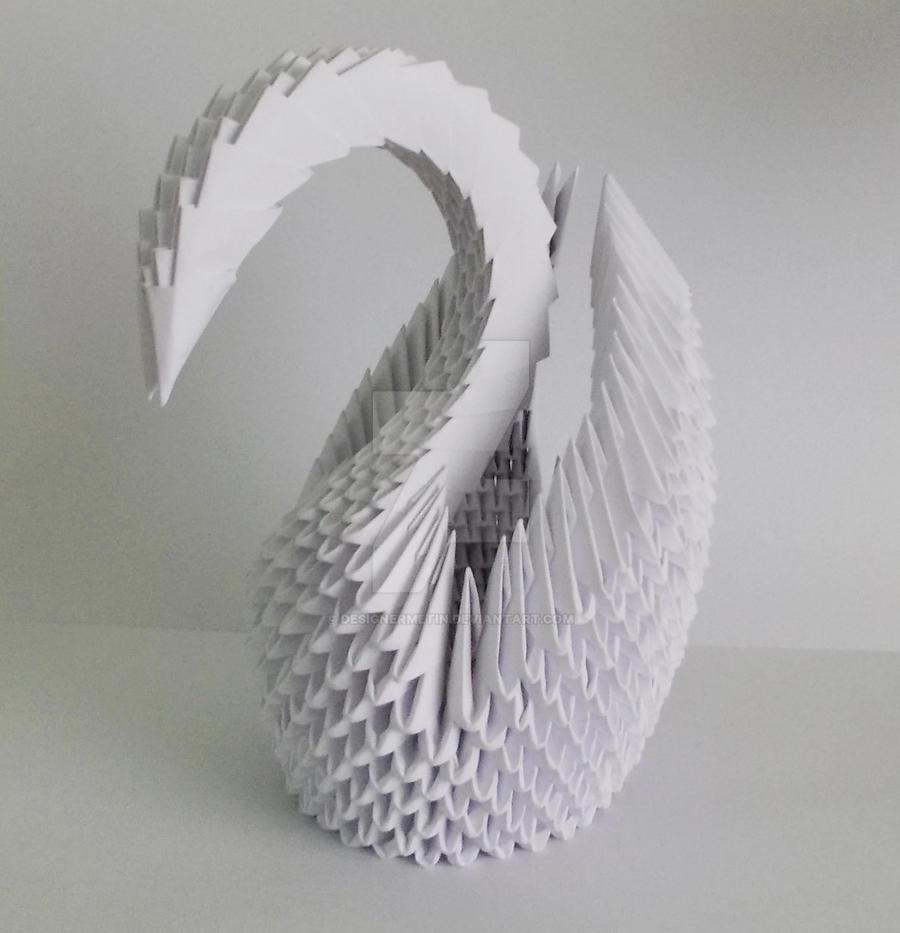 3D Origami White Swan by designermetin