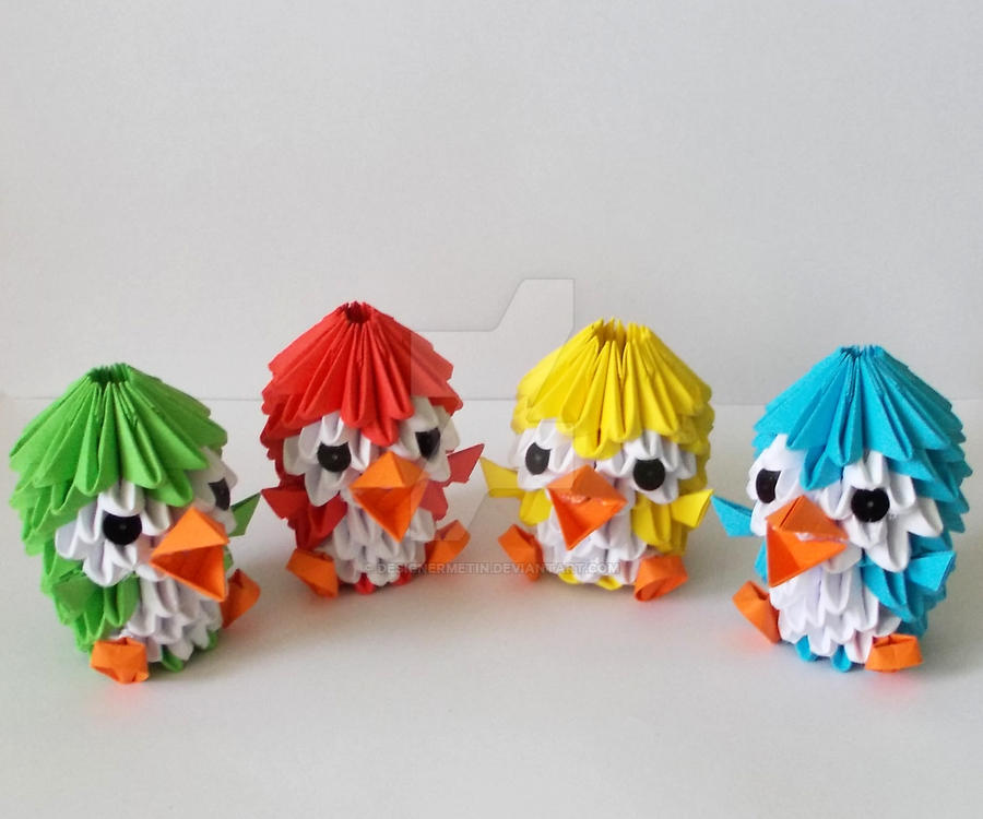 3d Origami Colorful Penguins By Designermetin On Deviantart