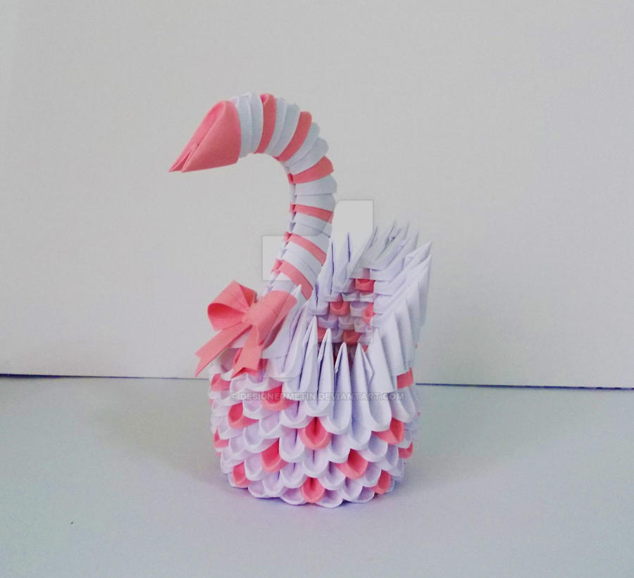 3D Origami Pink Swan By Designermetin
