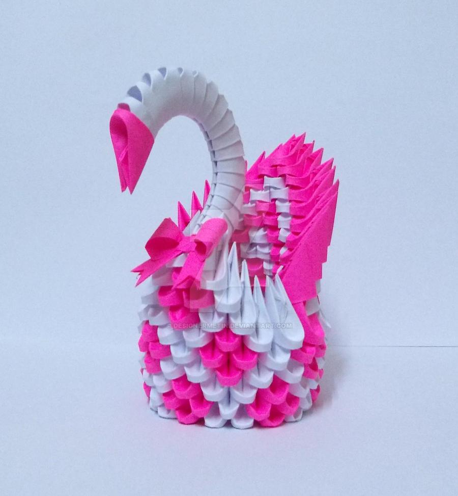 3d origami magenta swan by designermetin on deviantart