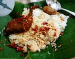 Ayam Balado, Perkedel Kentang, and Rice