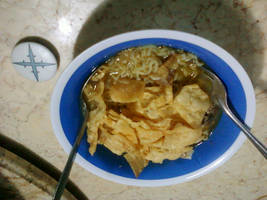 Mi Rebus with Fried Wanton and Chicken Meat