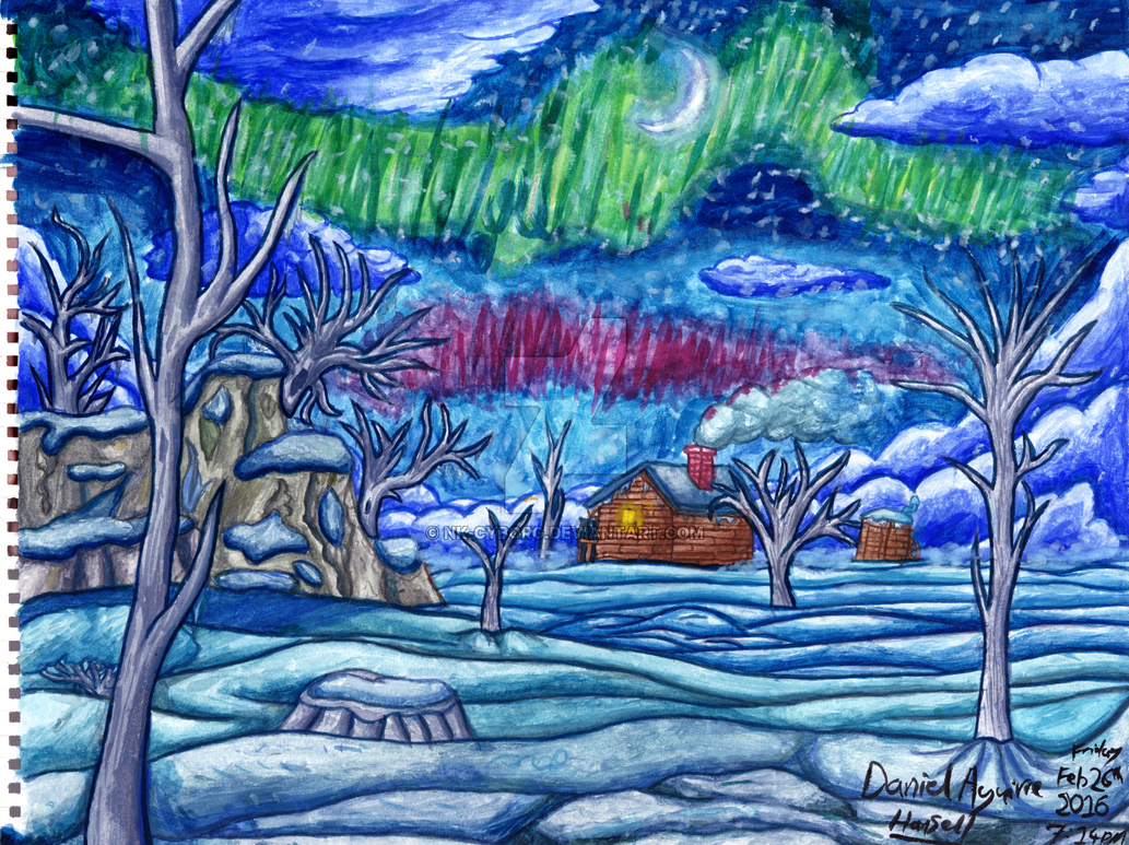 ~Watercolour - Aurora and Cabin~ by Nk-Cyborg