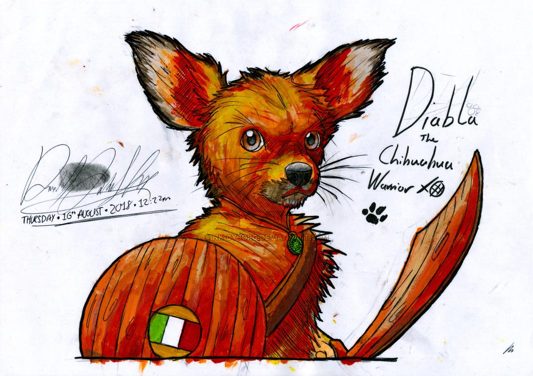 ~Watercolour - Diabla the Chihuahua Warrior~ by Nk-Cyborg
