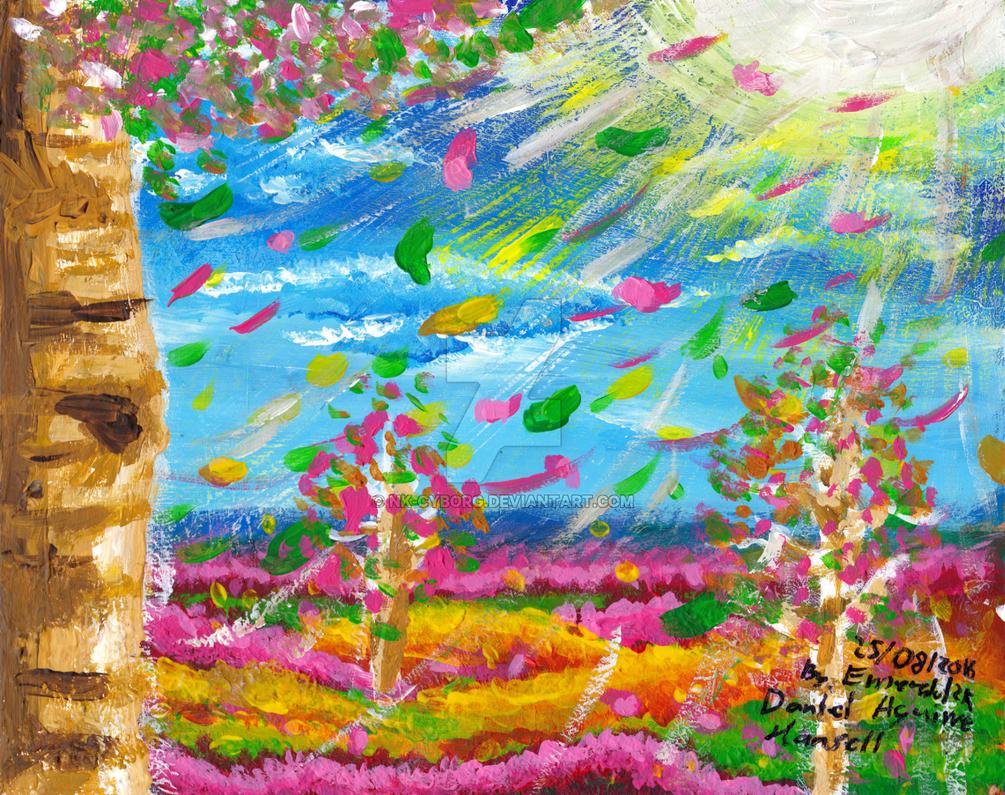 ~Acrylic - Birch Autumn with Sunshine~ by Nk-Cyborg