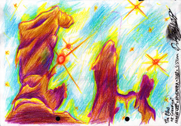 ~The Pillars of Creation in Colour Pencil~ by Nk-Cyborg