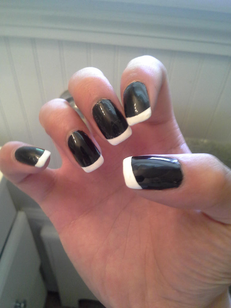 Black and French Tip Gel Nails (Guy Nails) R.Hand by Sephiroph44 on ...