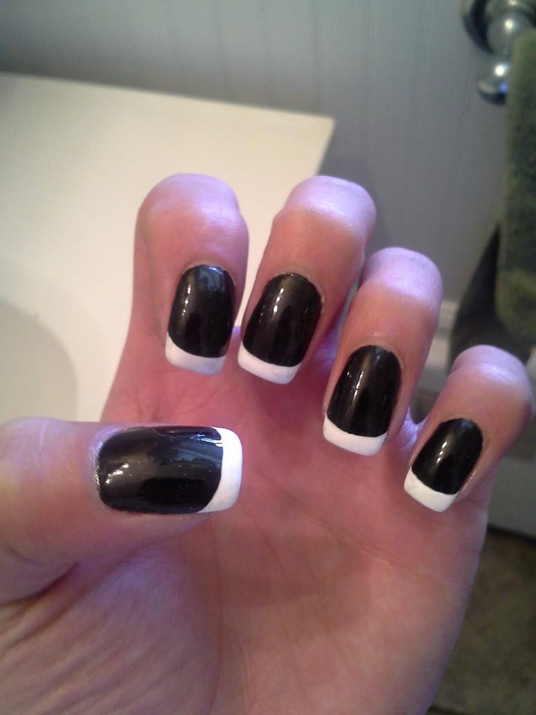 Black and French Tip Gel Nails (Guy Nails) L.Hand by Sephiroph44 on ...