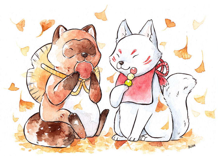 Tanuki and kitsune commission by Dunicakes