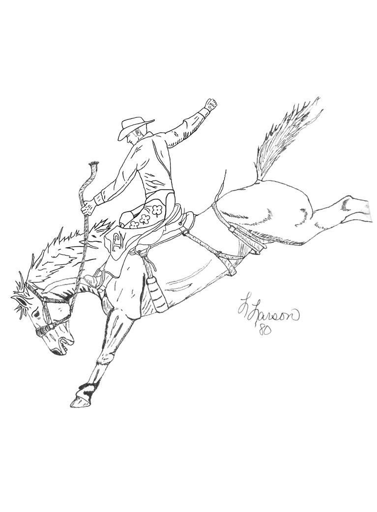 saddle bronc riding coloring pages - photo#11