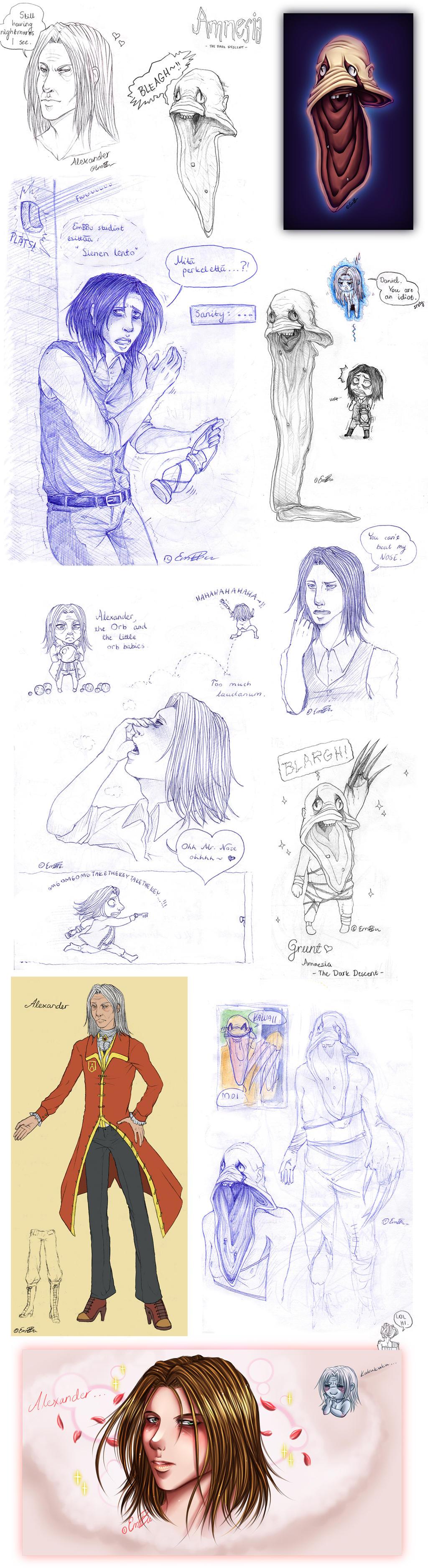Amnesia sketchdump by EmBBu-chan