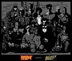JSA meets Hellboy - BlackWhite