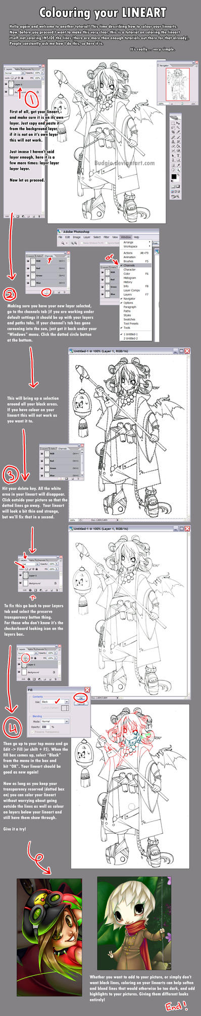 Easy Lineart Colour Tutorial by sambees